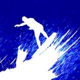 Vector que practica surf Imagenes de archivo