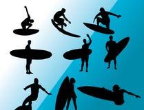 Vector que practica surf Foto de archivo