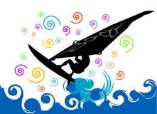 Vector que practica surf Imágenes de archivo libres de regalías