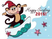 Vector que practica surf el saludo del día de fiesta del mono del Año Nuevo Fotografía de archivo libre de regalías