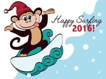 Vector que practica surf el saludo del día de fiesta del mono del Año Nuevo Fotografía de archivo