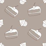 Vector queques e o bolo sem emenda do teste padrão com cerejas Ideal para o projeto do papel de papel de embrulho, empacotando, W Fotografia de Stock Royalty Free