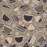 Vector queques e o bolo sem emenda do teste padrão com cerejas Ideal para o projeto do papel de papel de embrulho, empacotando, W Imagens de Stock Royalty Free