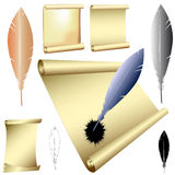 Vector quills and scrolls Stock Photo