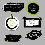 Vector quote boxes collection. Hand drawn frames, square, rectangle and round speech bubbles. Grunge brush strokes Royalty Free Stock Image