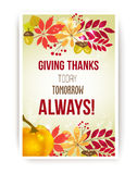 Vector quote - Giving thanks today, tomorrow, always. Happy Thanksgiving Day card template. Stock Photography