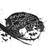 Vector quote hand drawn typographical on chalkboard background. Lettering: Enjoy a sweet treat. Bacery collection. Poster with gre Royalty Free Stock Photo