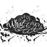 Vector quote hand drawn typographical on chalkboard background Stock Photos