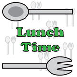 Vector quote sign spoon fork lunch time Royalty Free Stock Photos