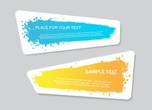 Vector quote or text boxes collection. Hand drawn frames. Grunge brush strokes, splatter textures. Stock Photography