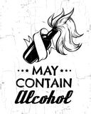 Vector quote typographical background  `May contain alcohol`. Hand drawn illustration of vintage bottle with ribbon. Template for card, poster, banner, print Stock Images