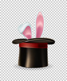 Vector rabbit ears appear from the magic hat isolated on transparent background. Rabbit ears appear from the magic hat isolated on transparent background Stock Image