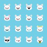 Vector rabbit emoticons collection. Cute emoji set Royalty Free Stock Photo