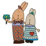 Vector rabbit-girl and rabbit-boy. Hand drawn illustration royalty free illustration