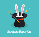 Vector rabbit in magic hat Royalty Free Stock Images