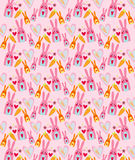 Vector of Rabbit Pattern with Carrot and Heart. On pink background Stock Images