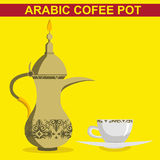Vector - rabic Coffee Pot and cup in simple flat iconic style with patterns. Eps 10 Vector Illustration