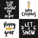 Vector raccolta delle carte del nuovo anno e di Natale con il le disegnato a mano Immagini Stock