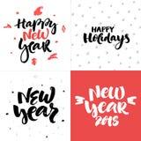Vector raccolta delle carte del nuovo anno e di Natale con iscrizione disegnata a mano Immagine Stock