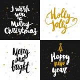 Vector raccolta delle carte del nuovo anno e di Natale con iscrizione disegnata a mano Fotografia Stock