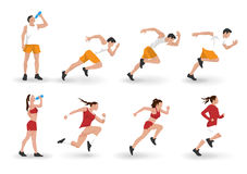 Vector race runners in flat design. Royalty Free Stock Photo