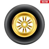 Vector race wheel and tire symbol Stock Images