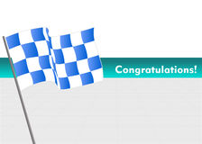 Vector Racing flag with congratulations Stock Images
