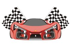 Vector of racing flags behind ferrari f80 car. Vector racing flags behind ferrari f80 sport car with white isolated background Stock Illustration