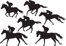 Vector of racing horses with jockeys. Collection set of racing horses with jockeys,  drawings of in black silhouettes Royalty Free Stock Photo