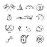 Vector racing icons in a drawing style. Set Royalty Free Stock Photography