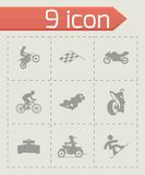 Vector racing icons set. On grey background Stock Images