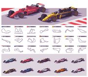 Vector racing tracks and cars Royalty Free Stock Photo