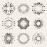 Vector Radial Gradient Halftone Sunburst Circle Shape Stippling Design Elements. Abstract Geometric Background Design Stock Photos
