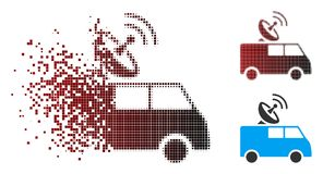 Disintegrating Pixel Halftone Radio Control Car Icon Vector Illustration