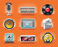 Vector radio icon set (orange background). Set of shiny radio related icons Stock Photography
