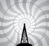 vector radio tower and air waves Stock Image