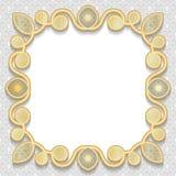 Vector Rahmen des Gold 3D, das festliche prägende Muster lizenzfreie abbildung