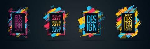 Vector Rahmen für Grafiken Text moderner Kunst für Hippies Lizenzfreie Stockfotos