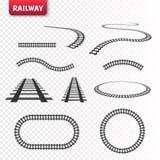 Vector rails set. Railways on white background. Railroad tracks. Vector rails set. Railways on white background. Railroad tracks Royalty Free Stock Photos