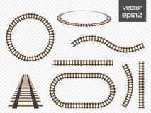 Vector rails set. Railways on white background. Railroad tracks. Royalty Free Stock Photo
