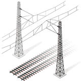 Vector railway in isometric 3d perspective isolated on white background. Royalty Free Stock Images