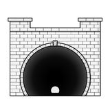 Vector railway low poly tunnel in front view, outline stylization. Stock Image