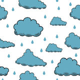 Vector rain background hand drawn Clouds engraving Stock Photo