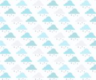 Vector rain background hand drawn, seamless pattern. stock illustration