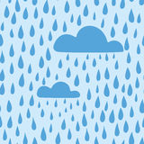 Vector rain background hand drawn, seamless pattern. Blue clouds and raindrops Stock Images