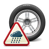 Vector Rain Tire with Sign Stock Image