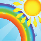 Vector rainbow. With drops and the sun Stock Photo