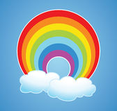 vector rainbow and clouds vector illustration