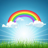 Vector rainbow clouds blue sky and grass. Vector rainbow and clouds blue sky and grass. Background colorful image weather illustration Royalty Free Stock Photography
