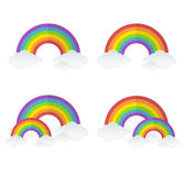 Vector rainbow and clouds set Royalty Free Stock Photo